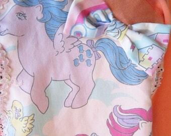My Little Pony sweatshirt peach 80s party pastel sweater fairy kei size small medium S M