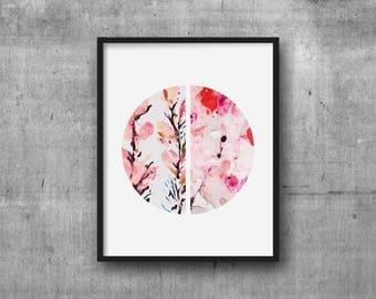 Art Print 8x10 Peach Floral + Marble