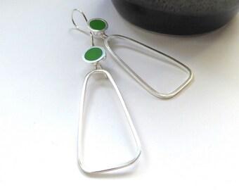 Leaf Green Hoop Earrings - Minimalist Silver and Resin Hoop Earrings - Colour Pop Hoops - UK Jewellery - Pop Long Hoops