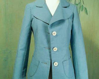 Vintage 60s mod Finland blue blazer jacket S