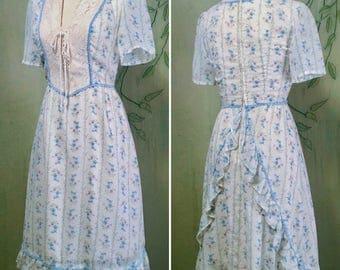 Vintage 70s prairie corset boho bustle apron mini dress XS
