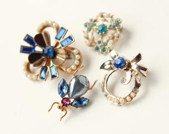 Bridal bouquet brooch, Something blue pin, Good luck charm, Bride blue charm, Vintage brooch, Gold Flower bug, Bouquet charm, Wedding gift