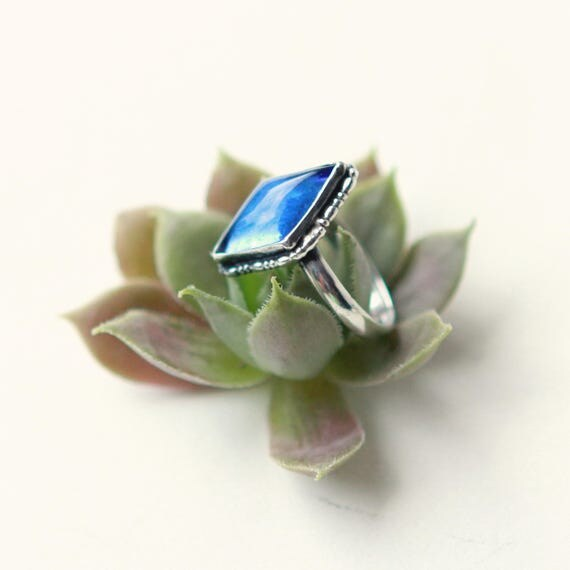 Vintage blue ring, Glass diamond-shaped stone, Sterling silver, Deco blue ring, SMALL size 3, Made in England, Gift for her