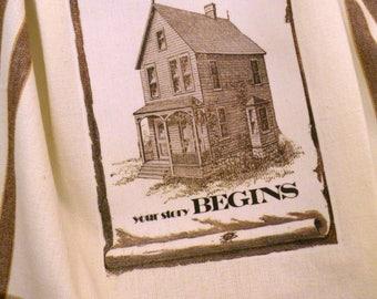 Farmhouse kitchen towel .....Home is where your Story begins.... Vintage style cotton Shabby Prairie Farmhouse ECS RDT FVGteam