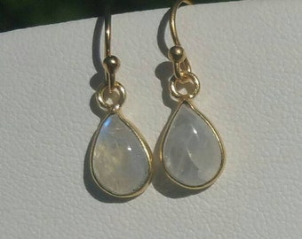 Small Moonstone Earrings, Gold Vermeil Earrings, Moonstone Drops, June Birthstone, Moonstone Earrings Gold, Dangle by Maggie McMane Designs