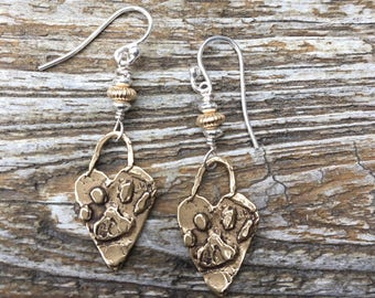 Bronze & Sterling Bronze Heart Paw Earrings