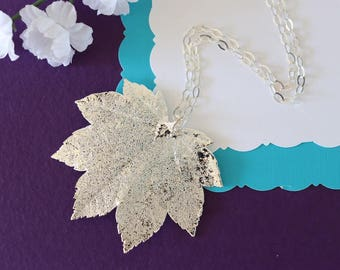 Real Full Moon Maple Leaf, Silver Maple Leaf, Silver Leaf Necklace, Real Leaf Necklace, Maple Leaf, Sterling Silver Leaf Necklace, LC113