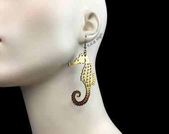 READY MADE SALE - Seahorse Earrings - Gold Metallic Seahorse - Laser Cut Acrylic Seahorse Earrings