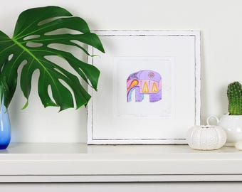 Elephant print for nursery baby girl or boy. Original art: watercolour & collagraph hand pulled print