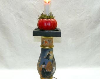 Accent Lamp Halloween Witch Hand Painted Folk Art Trick or Treat
