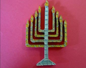 Hanukkah Menorah Mosaic in Gold and Silver Original Ooak