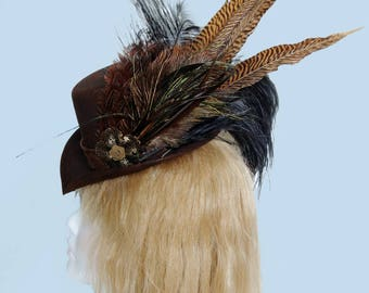 Dramatic Brown and Black feathered Victorian Steampunk Hat #2/ Goth Mini Riding Hat OOAK