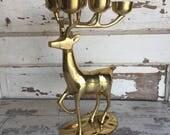 Vintage Brass Deer Candle Holder - Large Mid Century Reindeer
