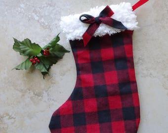 Buffalo Check Red and Black Christmas Stocking, Red and Black Plaid Stocking, Rustic Christmas, Country Christmas, Christmas Plaid