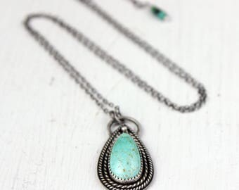 Blue Turquoise Necklace, Number 8 Mine, Pendant Necklace, Sterling Silver, Boho Necklace, Ready to Ship