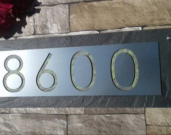 Address plaques etsy for Mid century modern address numbers
