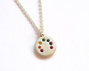 Rainbow Necklace, Handmade Silver & Precious Stones, Rainbow Pendant, Precious Jewellery, Colourful Necklace