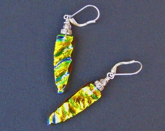 Copper 'n Gold Fused Dichroic Glass - Earrings
