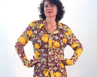Charlize, 70s Floral Disco Blouse, Yellow & Purple Nylon Blouse, Mod 70s Blouse, Slinky Nylon Top, Retro Hipster Vintage Disco Shirt, L