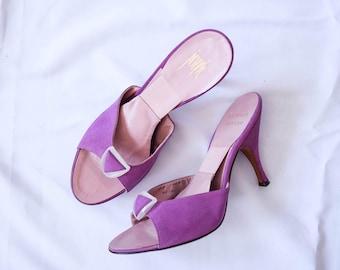 Herbert Levine | RARE Vintage 1950s Springolator Mules Magenta Suede Stilettos with Plastic Triangle Design Purple Sandals ORIGINAL Sz 8