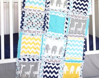 Giraffe / Elephant Crib Set - Navy/ Gray/ Yellow/ Turquoise Crib Bedding Boy- Jungle Nursery Safari Crib Set Rag Quilt, Sheet, Skirt, Bumper