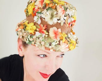 60s Orange Green Yellow Flower Pot Tall Crown Hat