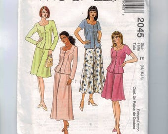 Misses Sewing Pattern McCalls 2045 Easy Two Piece Dress Skirt Top Short Long Princess Seams Size 14 16 18 Bust 36 38 40 UNCUT