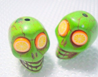 Orange Limeade Green Howlite Skull Beads
