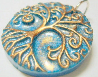 Tree Pendant Turquoise and Bronze Yggdrasil Tree of Life With Roots Handmade Polymer Clay Pendant or Focal Bead