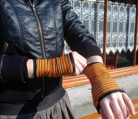 Mitten cuff short stripe orange/yellow and black Lycra. Retro Style. Sale empty workshop