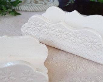 White Ceramic Business Card Holders, Brochure Holder, desk accessory, card holder