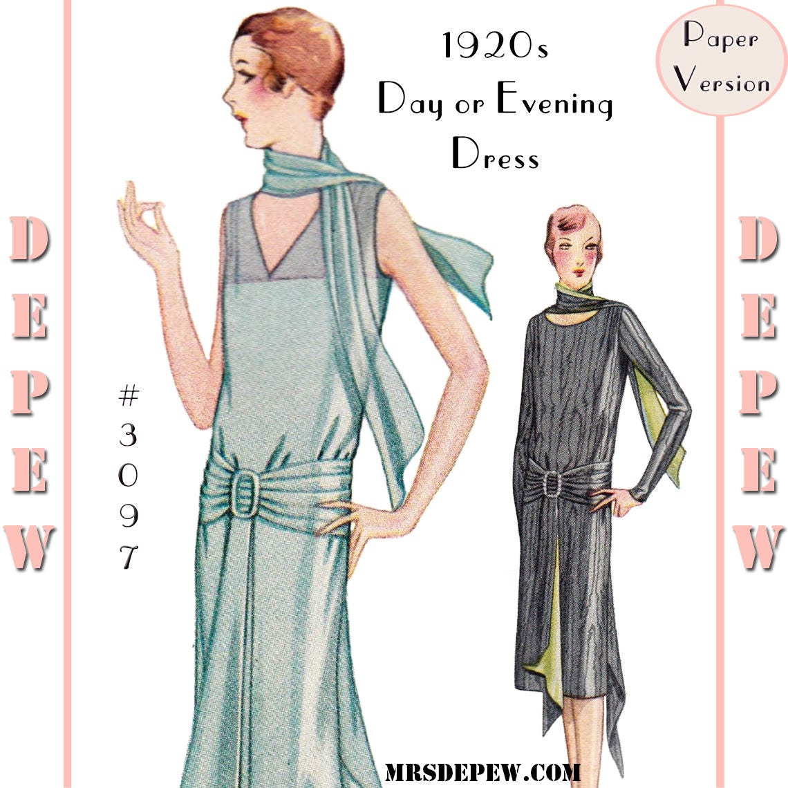 Vintage Sewing Pattern Ladies' 1920s Day or Evening Dress