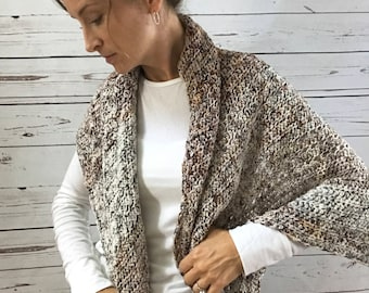 Merino Wool Triangle Wrap : fade shawl | scarf | hand dyed yarn | handmade | natural fibers | copper rust brown gray cream | Christmas gift
