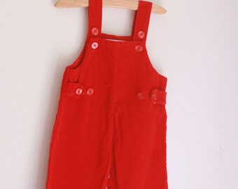 Vintage red corduroy overalls 6 to 9 months