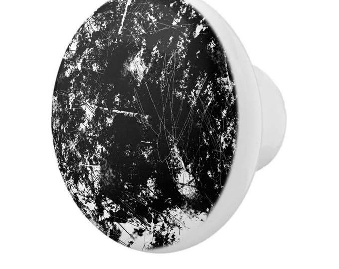 Pretty Henna Style Bird Motif White Porcelain Round Drawer Pull Knobs