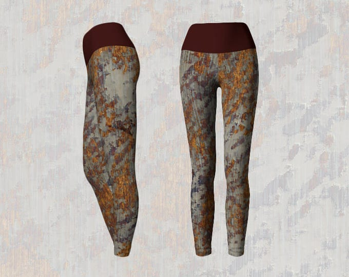 Modern Grunge Abstract Texture Pattern Yoga Leggings