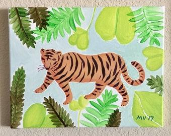 Tiger Art, Tiger King, Original Painting, Jungle Art, room decor, housewares, baby and kids rooms, Safari, Lions, Giraffe, Cheetah, Hawk