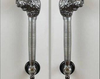 Bear Beer Tap Handle Metallic Silver finish  , Bear head beer tap handle