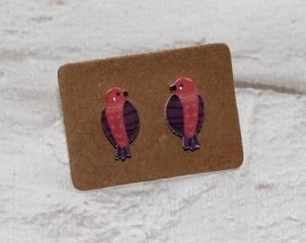 Pink Bird Earrings, Teeny Tiny Earrings, Parrot Jewelry, Cute Earrings