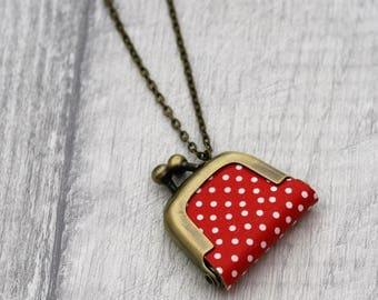 Polka Dot Coin Purse Necklace, Spotty Necklace,