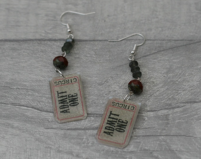 Circus Ticket Earrings, Admit One Dangle Earrings