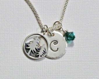 Pine Trees Necklace, Mountain Pine Tree Hand Stamped Sterling Silver Initial Charm Necklace - Personalized Tree Jewelry - Nature Jewelry