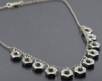 Hardware Jewelry- Upcycled Modern Silver Hex Nut Choker, Urban Geometric Necklace, Contemporary Jewelry, Hex Nut Necklace Industrial Jewelry
