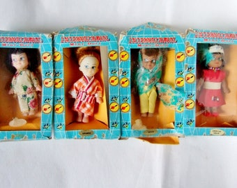 Four International Mini Dolls in Original Packaging - Cute Little Vintage Dolls from the 1960s in National Costumes