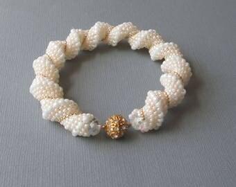 ivory wedding bracelet handmade bridal bracelet ivory beaded bracelet classic jewelry seed bead bracelett