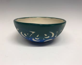 Small Bowl: Ombré Floral Blue/Green