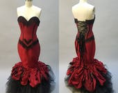 "Vampire Dress Gothic Bridal Gown Dark Fairy Red Wedding Dress Goth Steampunk Alternative Bridal Unique ""Goth Mermaid Gown"" Custom Order"