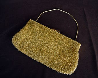 HANDMADE FOR BROADWAY in British Crown Colony Hong Kong Vintage Gold Beaded Clutch Purse with Gold Frame and Rope Chain Handle