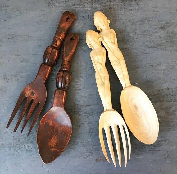 vintage wooden serving utensils - hand carved salad fork spoon - tiki bali hawaiian