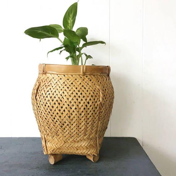 vintage woven bamboo basket - ginger jar basket with feet - rattan planter - Asian boho style